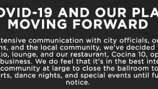 Crescent Ballroom COVID-19 announcement