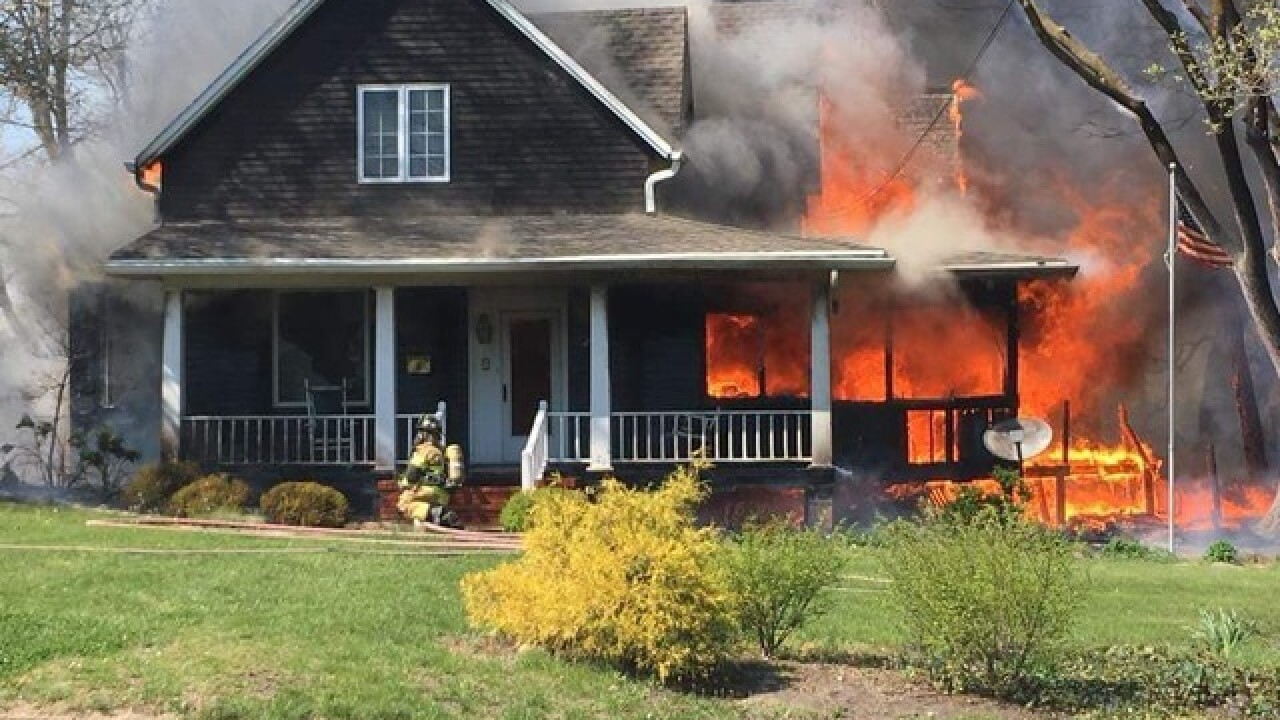 Crews battled Monday blaze in Trenton