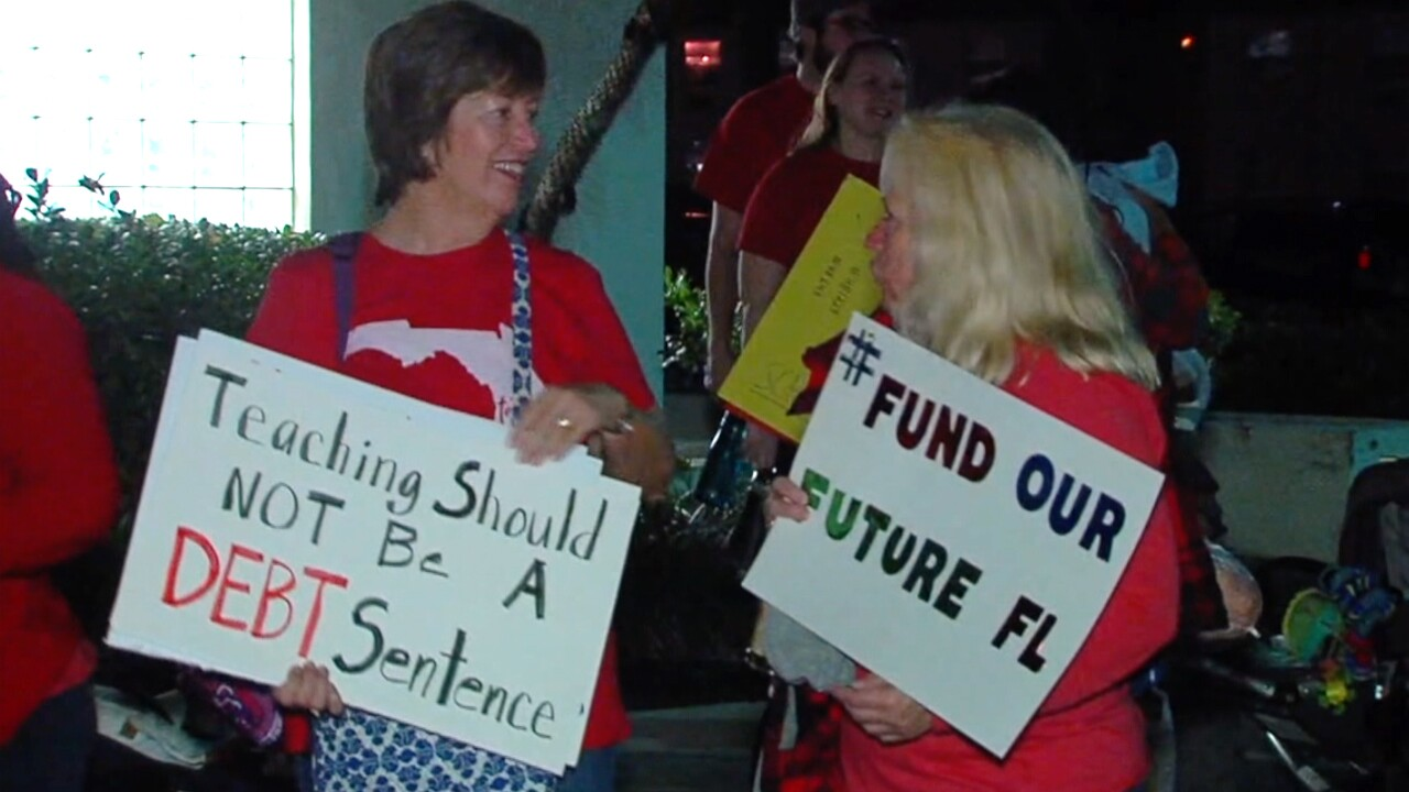 """Dozens of Palm Beach County public school teachers and supporters gathered early Monday morning to head to Tallahassee to participate in the """"Take on Tallahassee"""" rally for public education."""