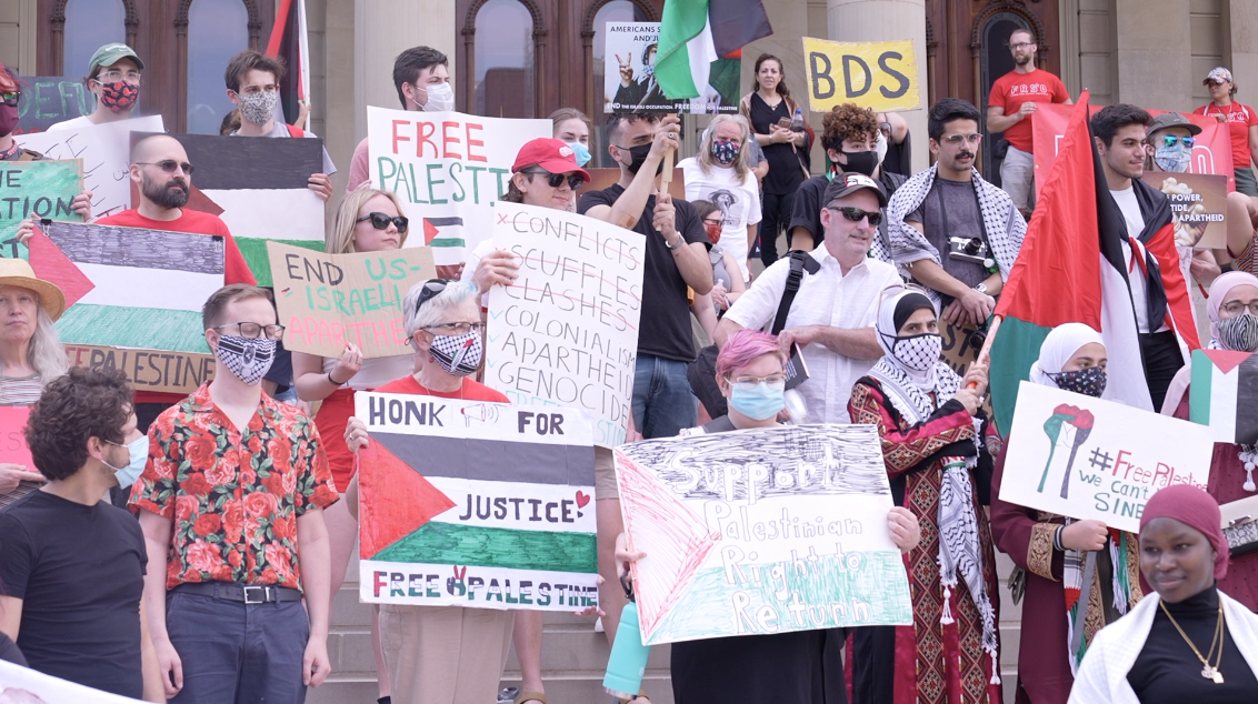 Protesters rally to support Palestine