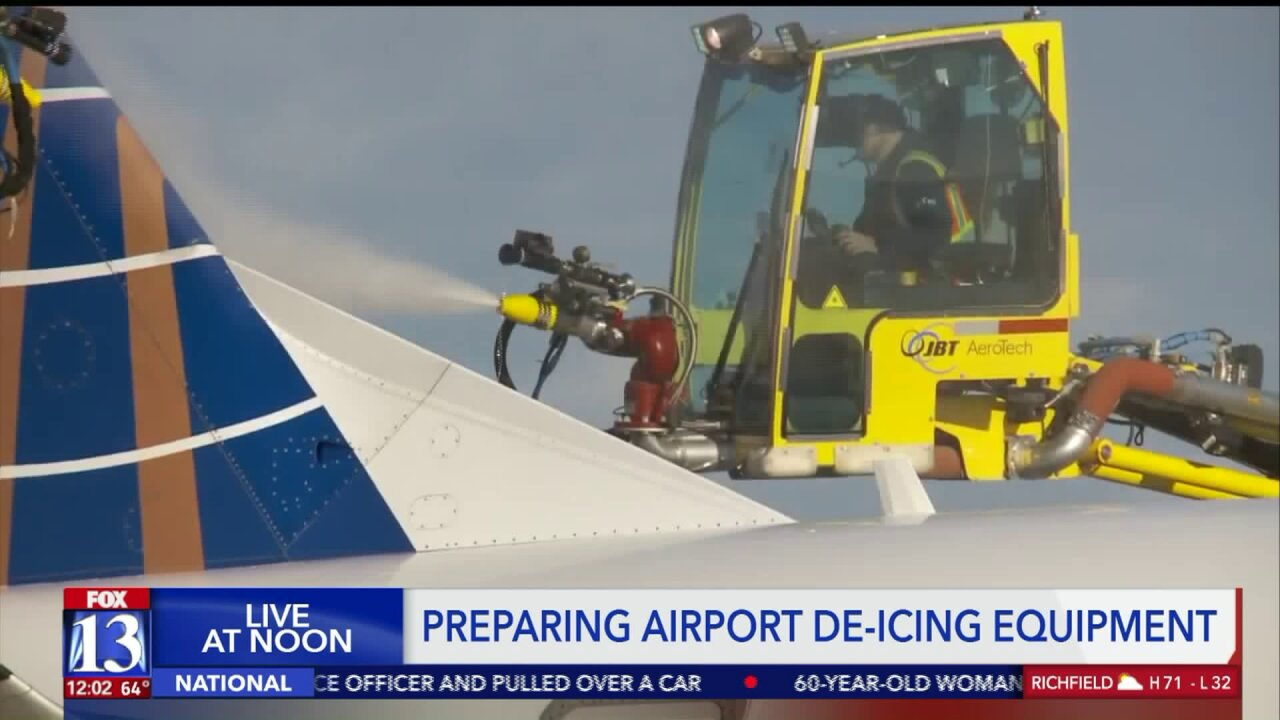 De-icing crews prep for cold weather at Salt Lake City International Airport