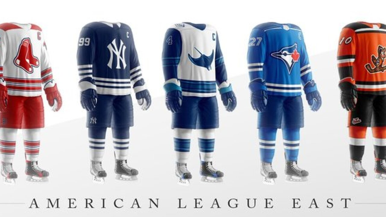 MLB jerseys recreated into hockey sweaters