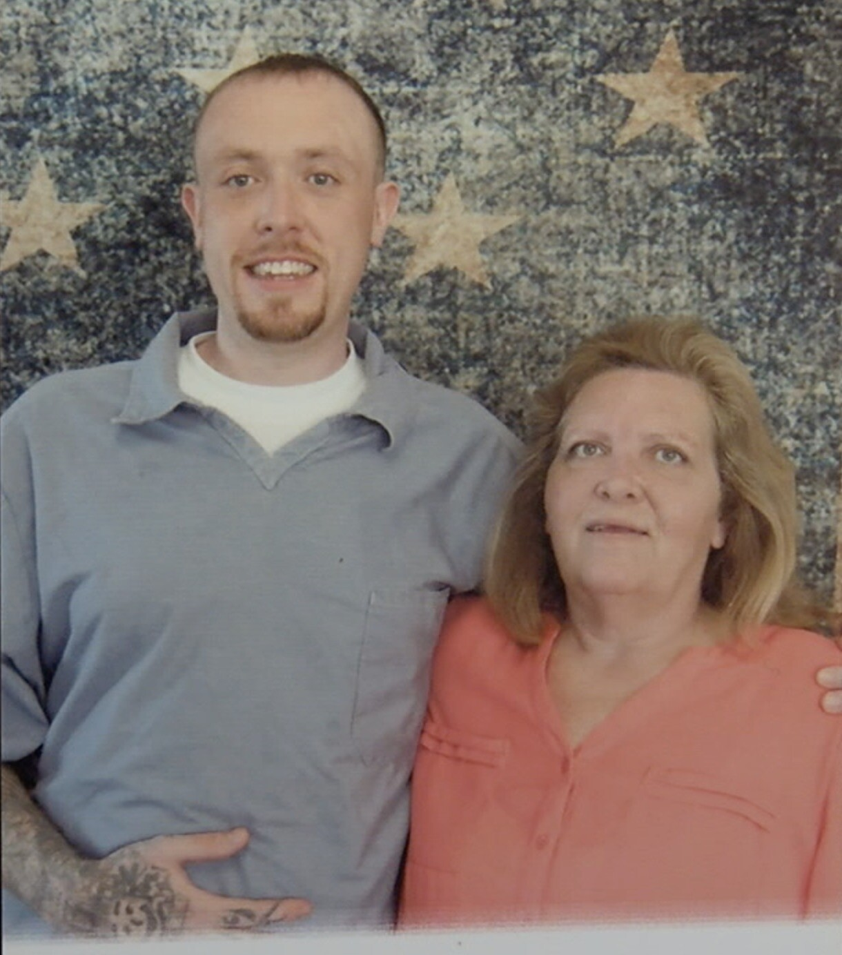 Kevin Thornton and his mother, Jacqueline Casey, when she visited him in prison.