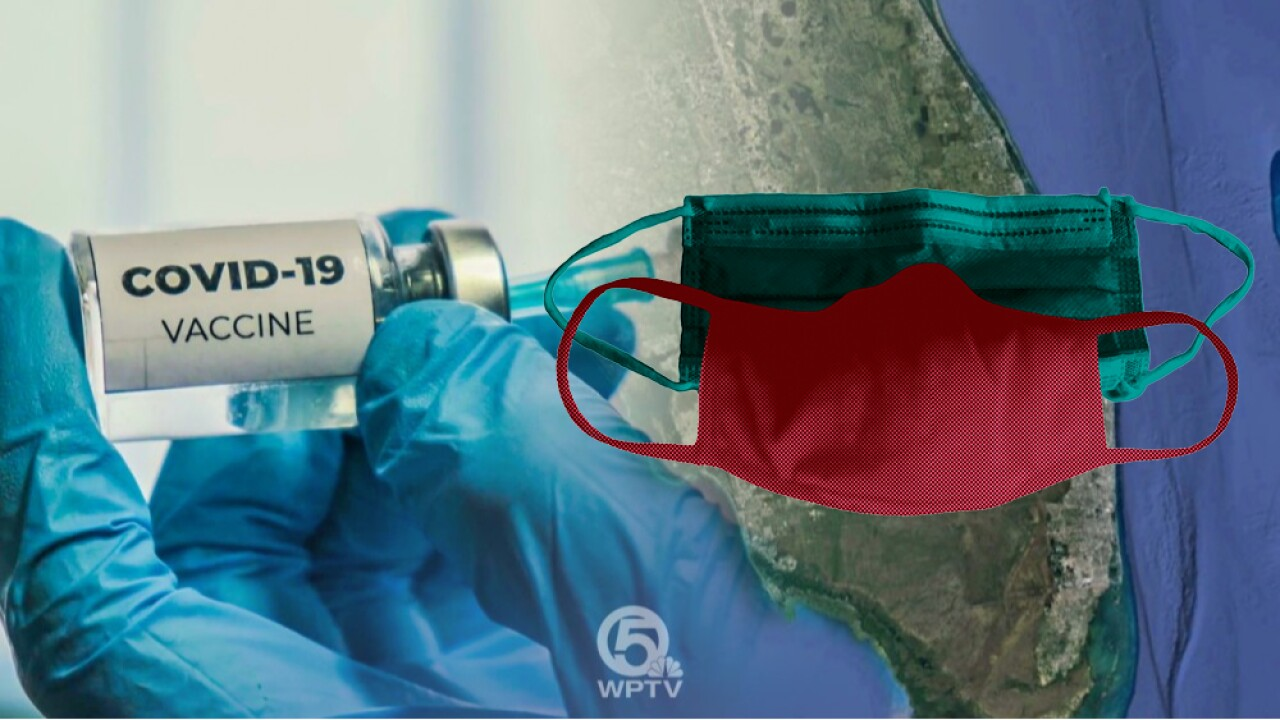 COVID-19 vaccine and masks over state of Florida graphic with WPTV logo
