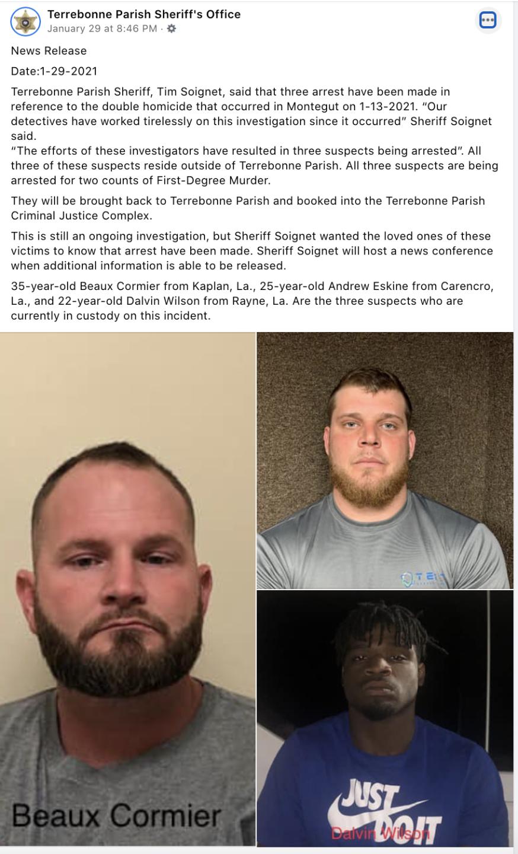 Terrebonne Parish Sheriff's Office_double murder FB post