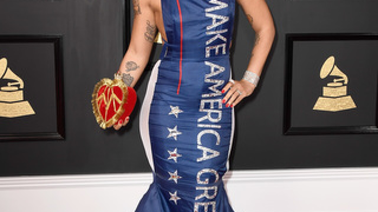 Singer attends Grammys in political dress