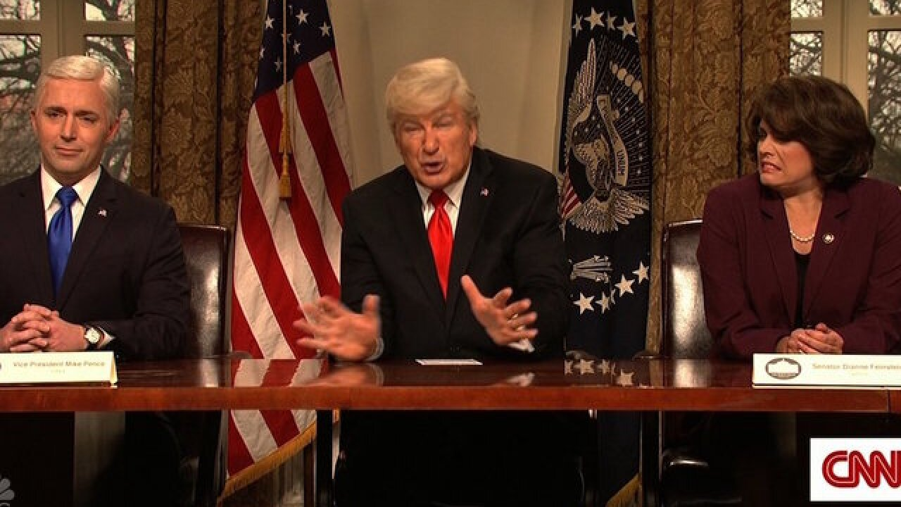 'SNL' returns with Baldwin's Trump talking gun violence