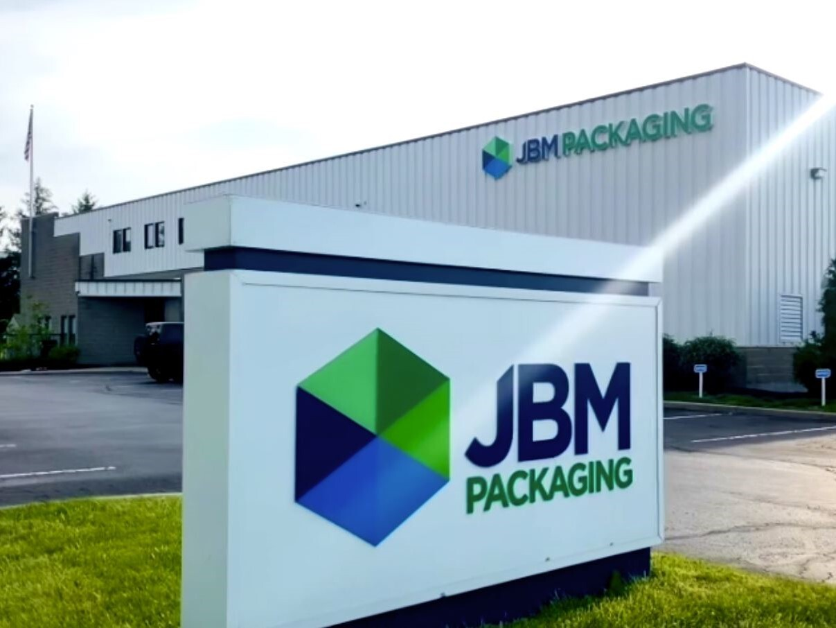 This photo shows the exterior of JBM Packaging's facility in Lebanon, Ohio.
