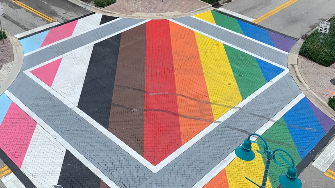 A vandalized LGBTQ Pride intersection and crosswalk at Northeast First Street and Northeast Second Avenue in Delray Beach on June 17, 2021.jpg