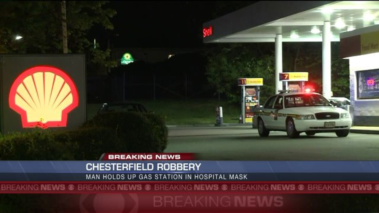 Gunman wearing hospital mask robs Chesterfield gas station