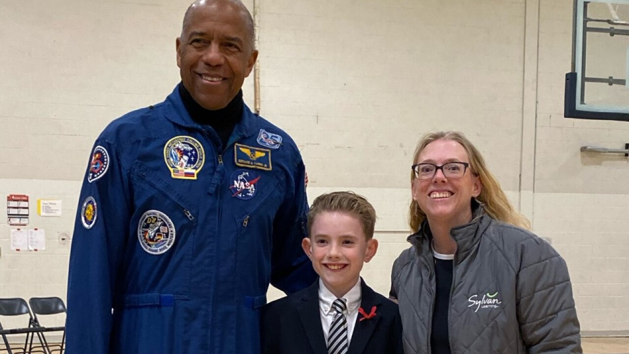 Veteran NASA Astronaut visits local school and Sylvan Learning