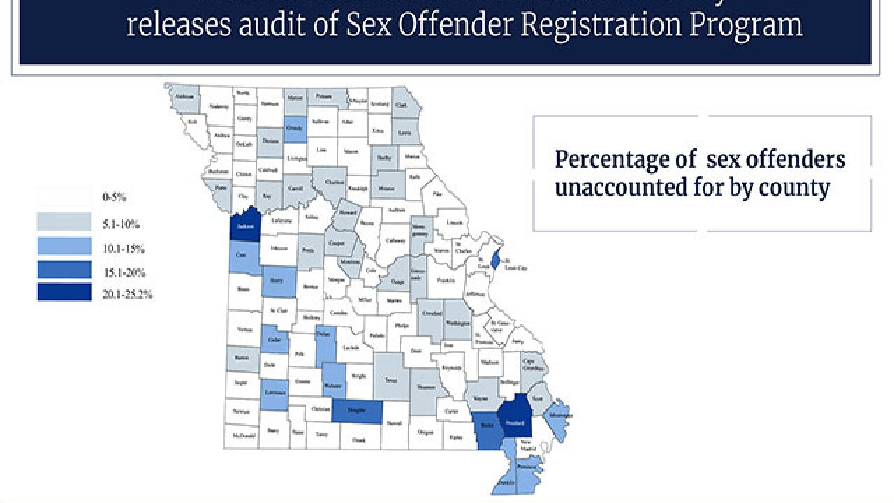 Nearly 1,300 Missouri sex offenders unaccounted for, audit finds