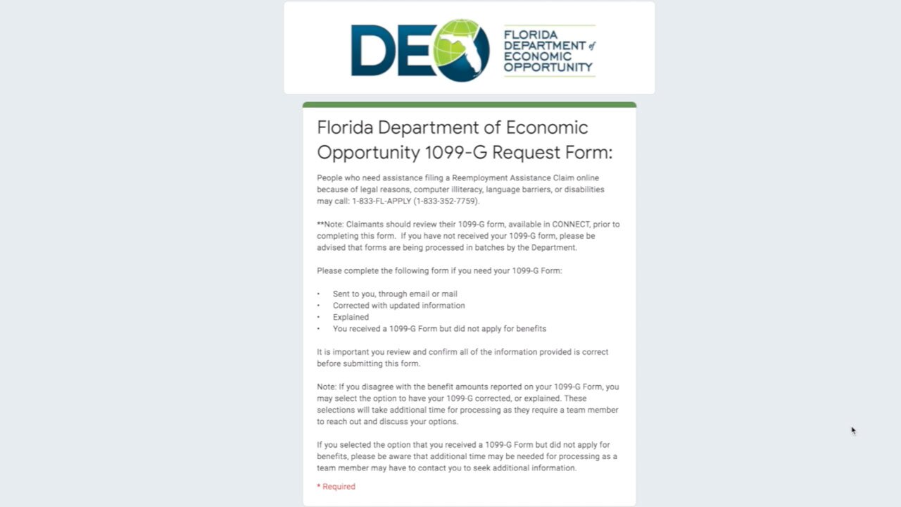 1099-G request form from Florida DEO site