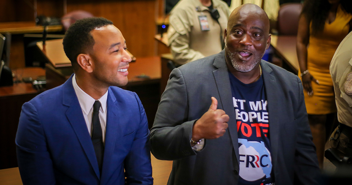 18 Florida felons get voting rights, John Legend lends support