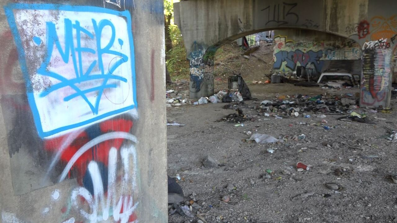 Homeless camp under bridges in Waco