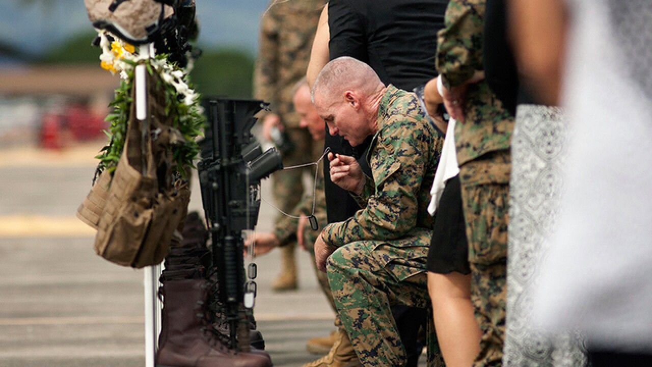 Memorial held for 12 Marines killed in crash