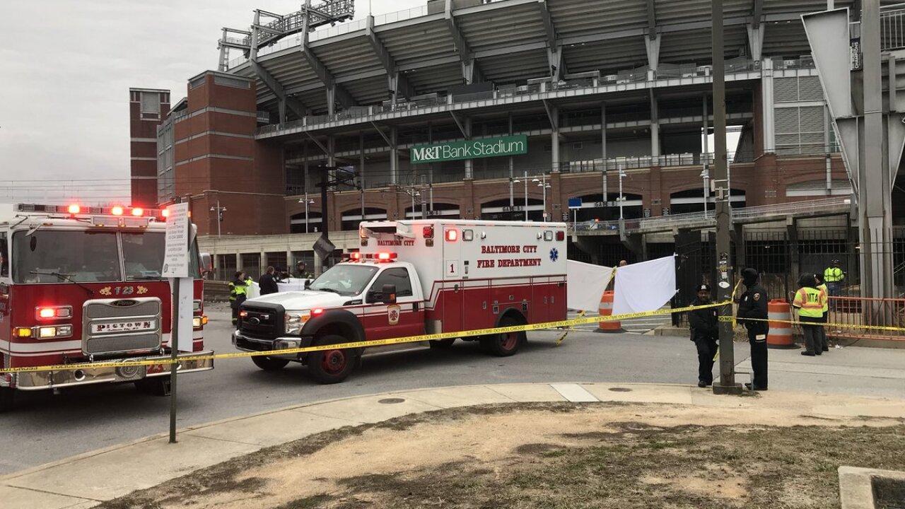 A man killed after a Port A Potty next to Ravens stadium caught fire.