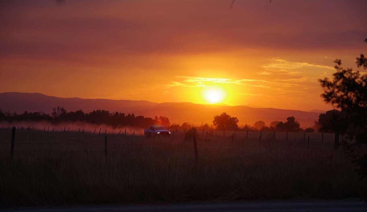 sunset during fire and smoke
