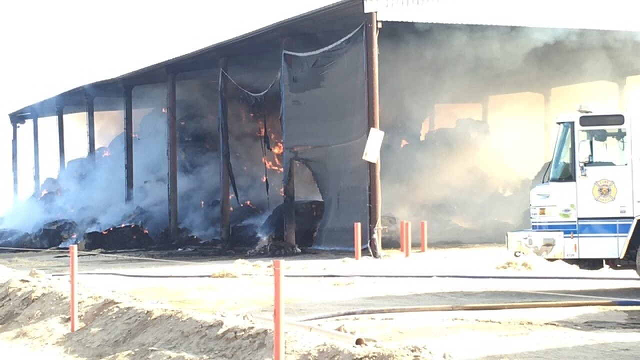 Hay barn goes up in flames