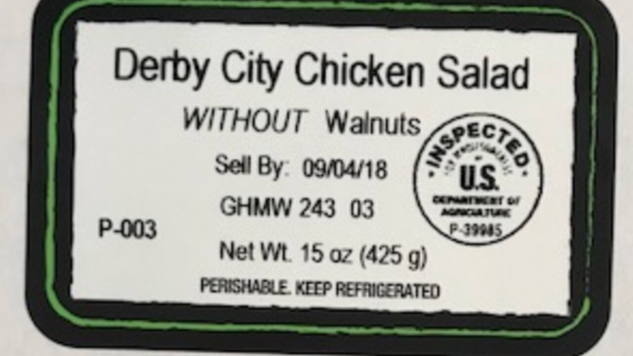Indiana company recalls chicken salad due to a mislabeled allergen
