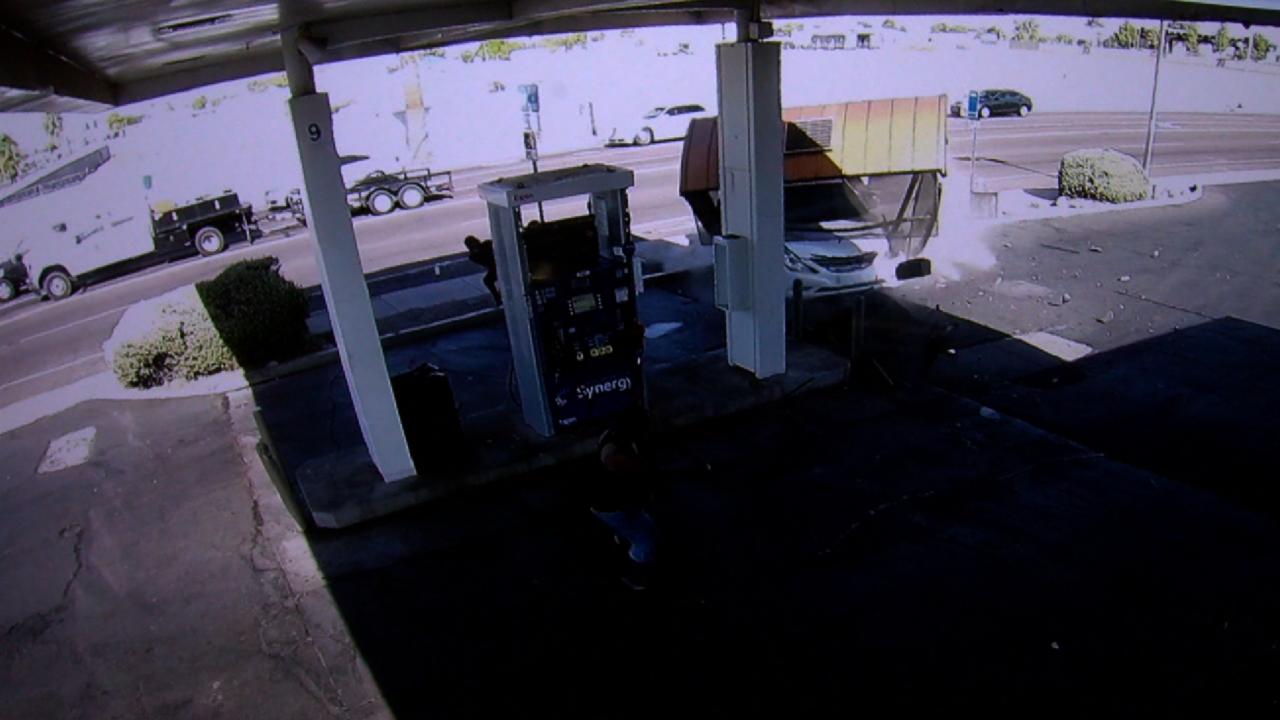KNXV Car Crashes Through Bus Stop 32nd St Van Buren Surveillance