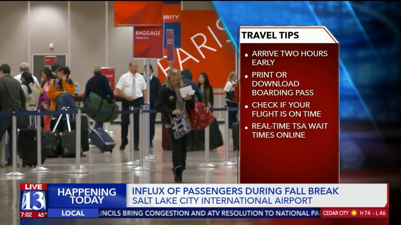 Officials urge travelers to plan ahead as crowds expected at SLC Airport for Fall Break