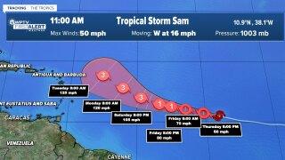 Tropical Storm Sam, Sept. 23, 2021, 11 a.m.