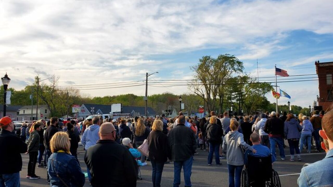 Police Department vigil for assaulted police officer
