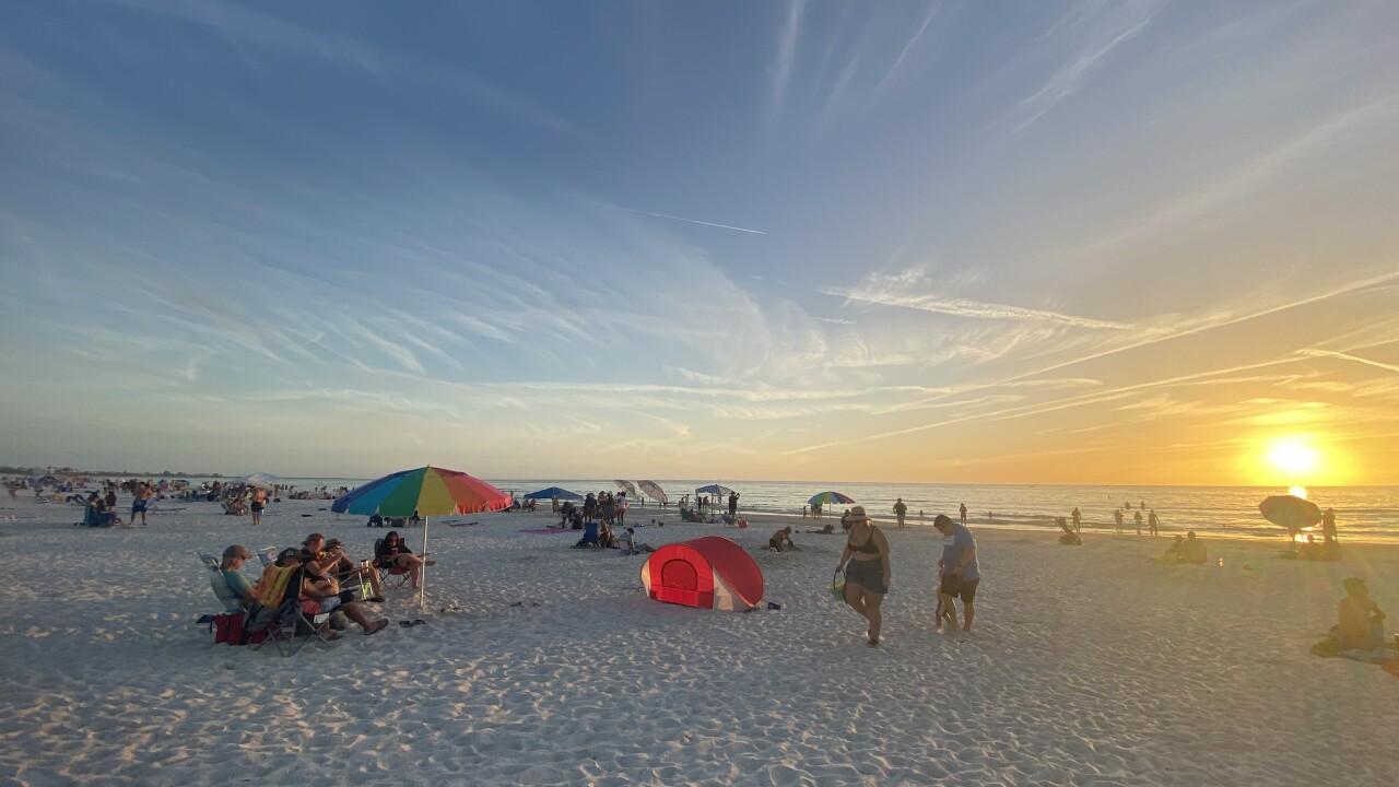 Beachgoers at St. Pete Beach