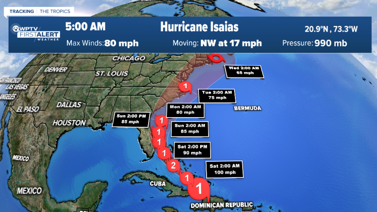 Hurricane Isaias expected to briefly strengthen into Category 2