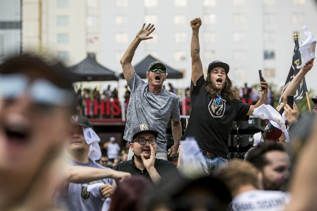 PHOTOS: Fans celebrate at Toshiba Plaza as Golden Knights advance to the Stanley Cup Final