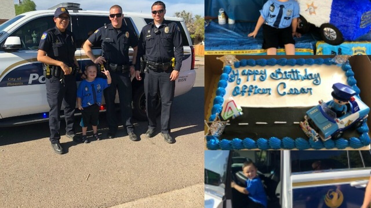 Phoenix Police Officers Surprise 4 Year Old Boy At His Birthday Party