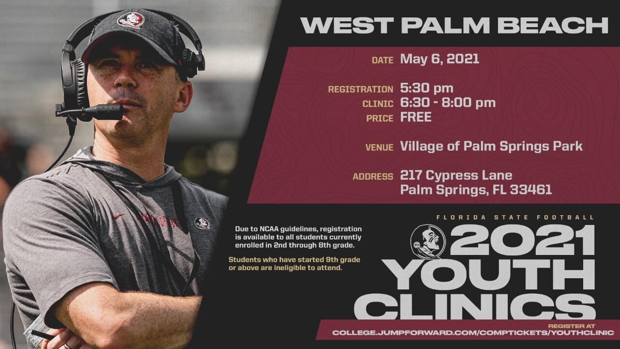 Florida State football 2021 youth clinic in West Palm Beach area