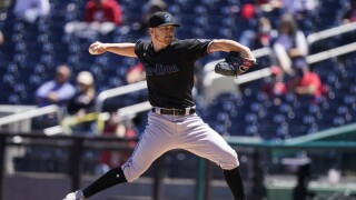 Miami Marlins starting pitcher Paul Campbell throws May 1, 2021