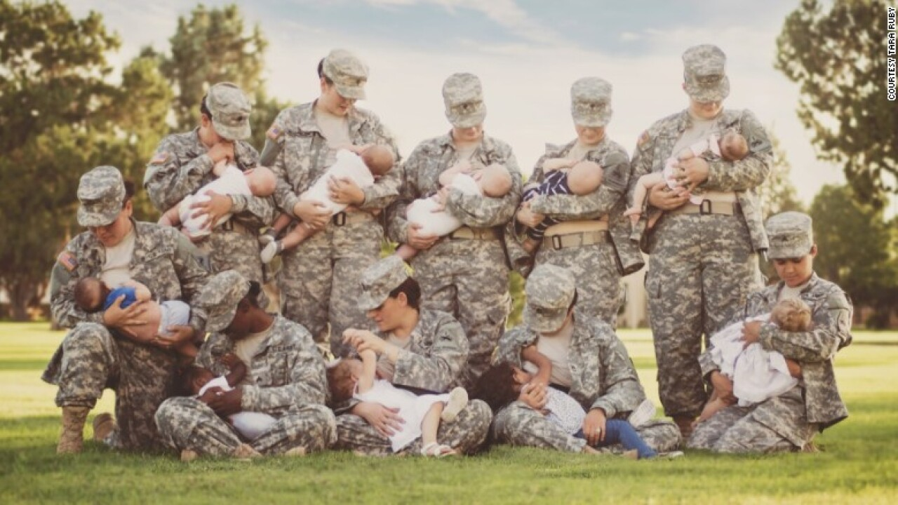 Soldiers in camo pose for photo in uniform to 'normalize breastfeeding'