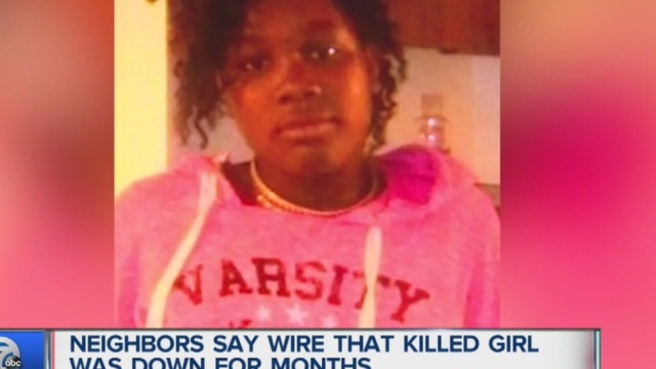 Neighbors say wire that electrocuted 12-year-old girl had been down for months