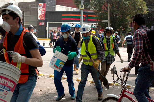 Rescue operations in Mexico City, Mexico
