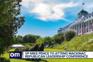Vice President Mike Pence speaking at Mackinac Island's Grand Hotel for Republican Leadership Conference