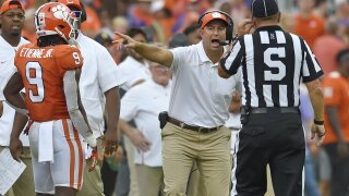 Clemson Tigers head coach Dabo Swinney argues call against Florida State Seminoles in 2019