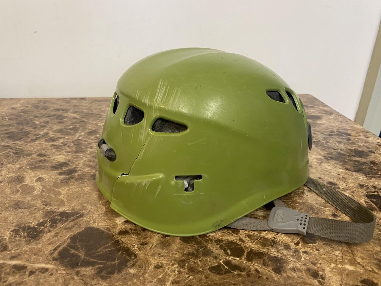Joe Ryan's helmet after 2014 fall on Wilson Peak