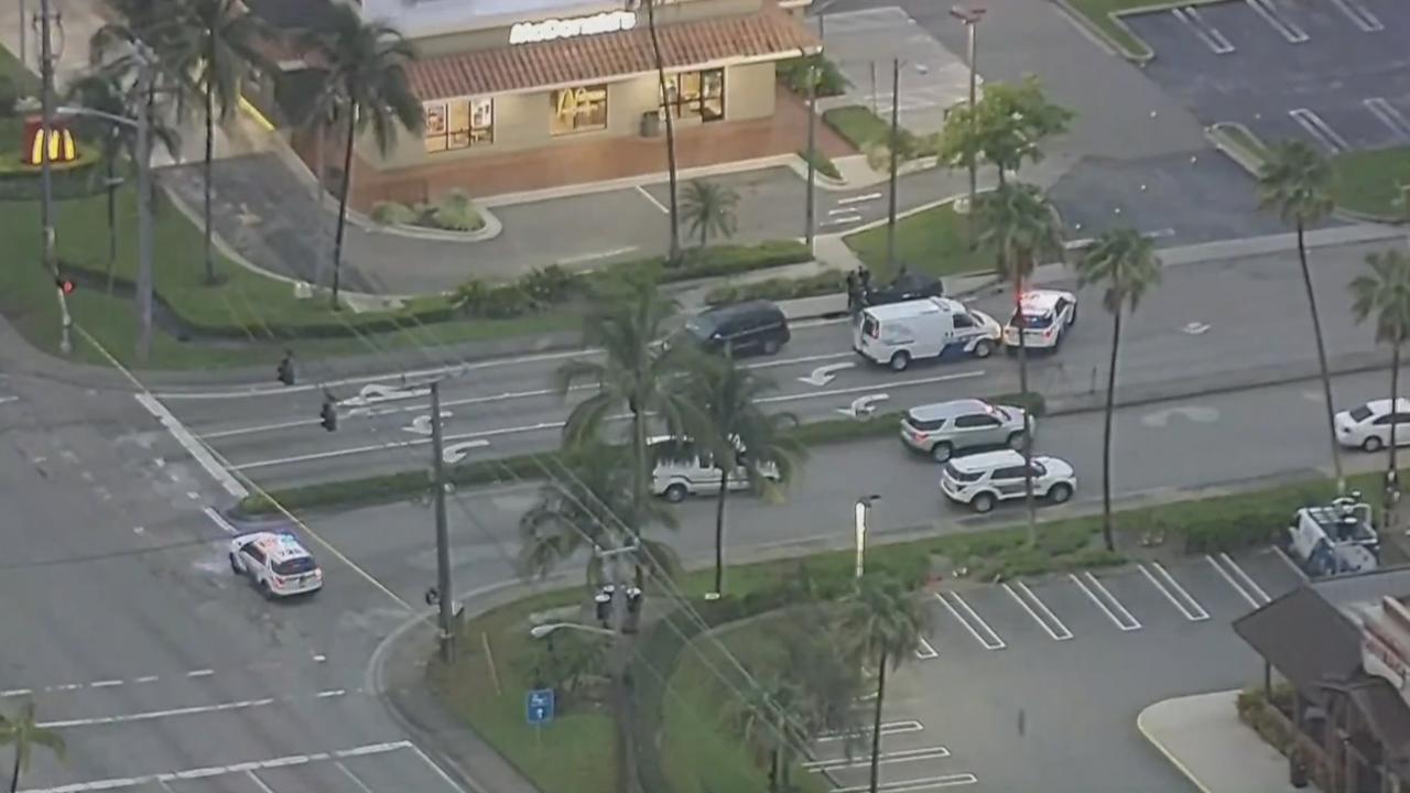 aerials of McDonald's shooting on Linton Boulevard in Delray Beach