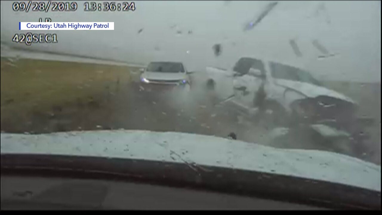 UHP releases video of patrol car struck by pickup onI-15