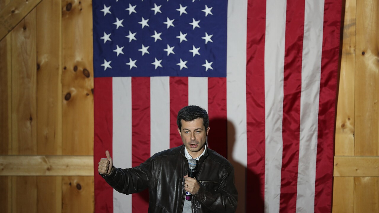 Democratic Presidential Candidate Pete Buttigieg Embarks On Campaign Bus Tour In New Hampshire