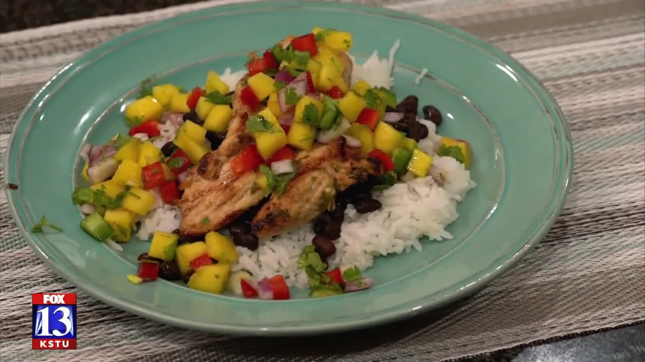 Grilled cilantro-lime chicken with mango sauce recipe