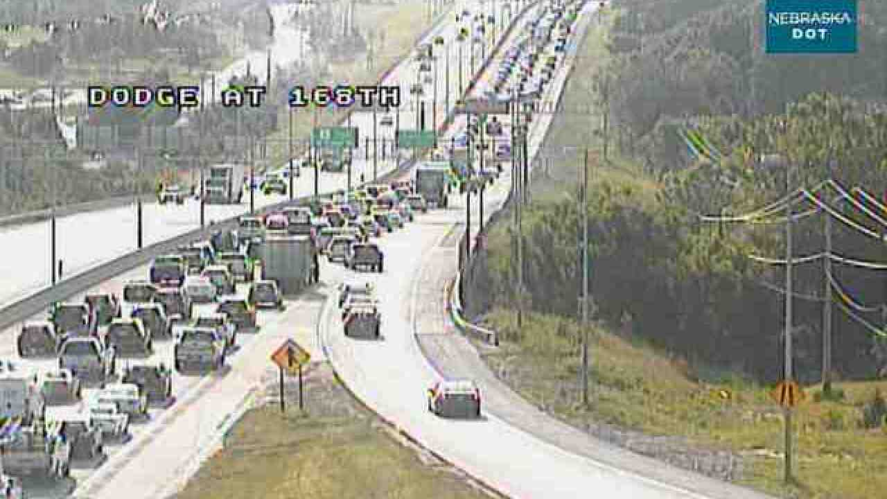 Crash causes backups near 168th and Eastbound Dodge Street
