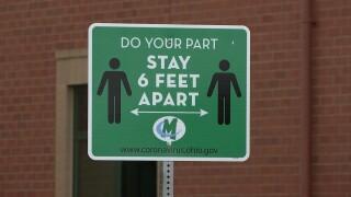 Mason City Schools social distancing sign