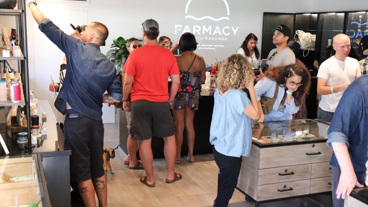 People packed into Santa Barbara's first adult-use marijuana retailer.