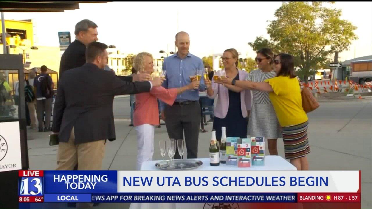 Salt Lake City leaders toast transit as UTA route changes take effectMonday