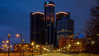 GM Ren Cen Global Headquarters Glows Amber