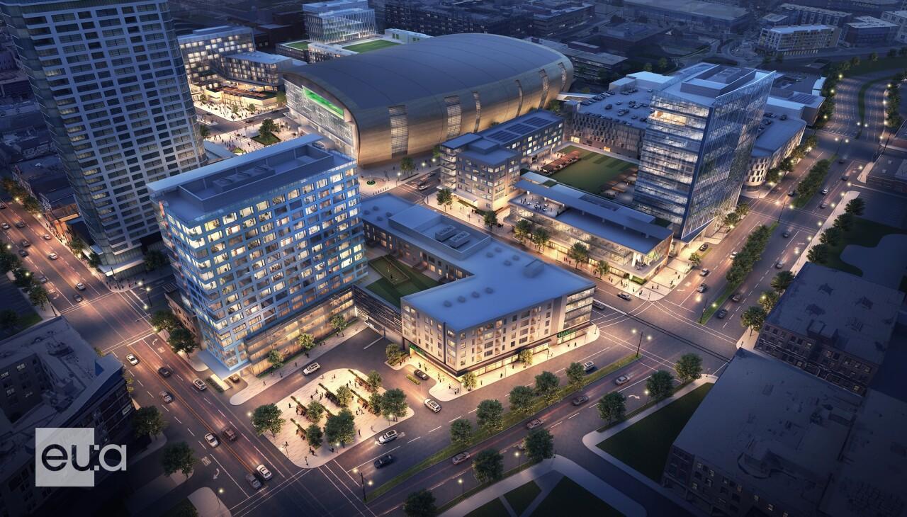 Future development around Fiserv Forum in downtown Milwaukee.
